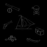 Vector illustration pirate theme outline figures set against black background Royalty Free Stock Photo