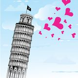 Vector illustration with Pisa tower Royalty Free Stock Photography