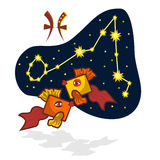 Vector illustration of the Pisces with a rectangular muzzle. Cartoon Zodiac signs. A schematic arrangement of stars in the constellation Pisces Stock Photos