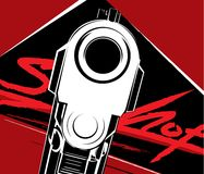 Vector illustration pistol. Criminal arm pistol gun and danger military weapon. royalty free illustration