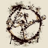 Baseball pitcher inside imprint of ball stock illustration