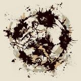 Soccer player inside imprint of ball stock illustration