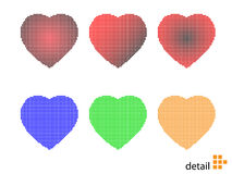 Vector illustration of pixel hearts. Various colored Stock Photo