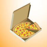 Vector illustration - Pizza in Box. Pizza in Box with Illustrator Stock Photography