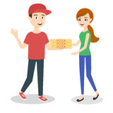 Vector illustration of pizza delivery boy Royalty Free Stock Photography