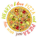 Vector illustration pizza. An inscription a lettering by hand,` I love pizza, pizza cant break my heart Stock Photo