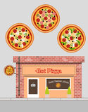Vector illustration of pizza restaurant in flat style Stock Images