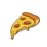 Cartoon with contour of pizza slice with melted cheese and pepperoni. Vector illustration. Pizza slice with melted cheese and pepperoni. Image in cartoon style stock illustration