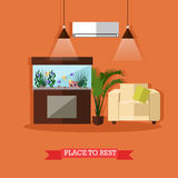 Vector illustration of place to rest, home interior design element Royalty Free Stock Image