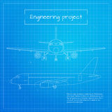 Vector illustration of plane. Engineering aircraft blueprint background Stock Photography