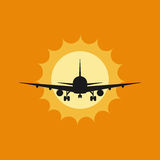 Vector illustration of a plane to takeoff or landing at sunset. Vector illustration of aircraft to takeoff or landing at sunset Royalty Free Stock Image