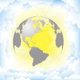 Vector illustration planet sun and clouds Stock Photo