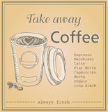 Vector illustration of plastic coffee cup with words take away Royalty Free Stock Photography