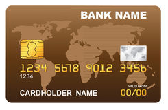 Vector illustration of a plastic credit card. Royalty Free Stock Image