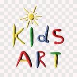 Vector illustration of plasticine sun with text Kids art. Creativity kids handmade. Stock Photography