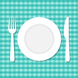 Vector illustration of plate, knife and fork Royalty Free Stock Image