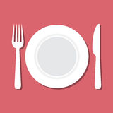 Vector illustration of plate, knife and fork Stock Photography