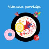 Vector illustration of a plate of useful porridge. And berries. Template for advertising or restaurant or cafe menu Stock Photography