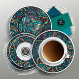 Vector illustration with plates and cup of coffee Stock Photography