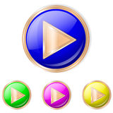 Vector illustration of Play button. Play Sphere Icon. Set of buttons in different colors stock illustration