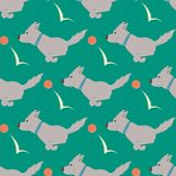 Vector illustration playing dogs characters background funny purebred puppy comic happy mammal breed seamless pattern. Vector illustration cute dogs characters vector illustration