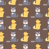 Vector illustration playing dogs characters background funny purebred puppy comic happy mammal breed seamless pattern. Vector illustration cute dogs characters stock illustration