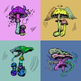Crazy mushrooms vector illustration