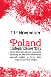 Vector illustration Poland Independence Day, Polish flag in trendy grunge style. 11 November design template for poster. Banner, flayer, greeting,invitation Royalty Free Stock Photo