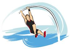 Pole vault athlete. A vector illustration of a pole vaulting man at the olympics Royalty Free Stock Image