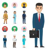Set of Seven Vocations. Full-length and Round Icon. Vector illustration of policeman and lifesaver, medical adviser, bearded mariner and cook with ladle Royalty Free Stock Photo