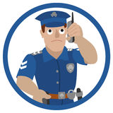Vector illustration of policeman talking on a mobile phone Royalty Free Stock Image