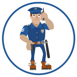Vector illustration of policeman talking on a mobile phone Stock Images