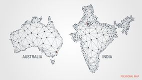 Vector illustration. A polygonal map of countries. India. Australia. Abstract 3d image. Dots and lines. Geometric polygons. stock illustration