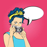 Vector illustration of pop art beautiful young woman Stock Images