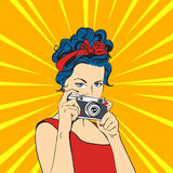 Vector illustration of pop art beautiful young woman. Retro Style Royalty Free Stock Photography