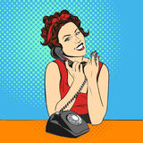 Vector illustration of pop art beautiful young woman with telephone Stock Images