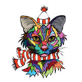 Vector illustration. Pop art portrait of a cat in a warm hat and. Striped scarf on a white background Royalty Free Stock Photos