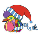 Vector illustration pop art rooster head in a scarf and hat Royalty Free Stock Images