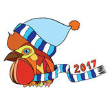 Vector illustration pop art rooster head in a scarf and hat Stock Photo