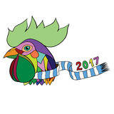 Vector illustration pop art rooster head in a scarf Royalty Free Stock Photo