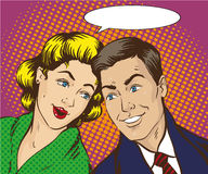 Vector illustration in pop art style. Woman and man talk to each other. Retro comic. Gossip, rumors talks. Vector illustration in pop art style. Woman and man Stock Photo