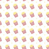 Popcorn in box with  red strips icon vector illustration