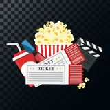 Vector illustration. Popcorn and drink. Film strip border. Cinem. Popcorn and drink. Film strip border. Cinema movie night icon in flat design style. Bright Royalty Free Stock Photography