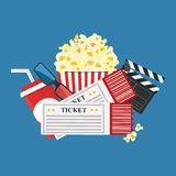 Vector illustration. Popcorn and drink. Film strip border. Cinem. Popcorn and drink. Film strip border. Cinema movie night icon in flat design style. Bright Stock Photo