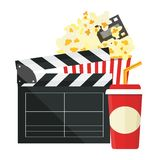 Vector illustration. Popcorn and drink. Film strip border. Cinem. Popcorn and drink. Film strip border. Cinema movie night icon in flat design style. Bright Royalty Free Stock Photos