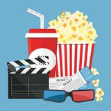 Vector illustration. Popcorn and drink. Film strip border. Cinem. Popcorn and drink. Film strip border. Cinema movie night icon in flat design style. Bright Stock Images