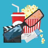Vector illustration. Popcorn and drink. Film strip border. Cinem. Popcorn and drink. Film strip border. Cinema movie night icon in flat design style. Bright Royalty Free Stock Image