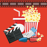 Vector illustration. Popcorn and drink. Film strip border. Cinem. Popcorn and drink. Film strip border. Cinema movie night icon in flat design style. Bright Stock Image
