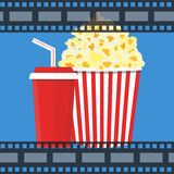 Vector illustration. Popcorn and drink. Film strip border. Popcorn and drink. Film strip border. Cinema movie night icon in flat design style. Bright background Royalty Free Stock Photo
