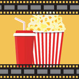 Vector illustration. Popcorn and drink. Film strip border. Popcorn and drink. Film strip border. Cinema movie night icon in flat design style. Bright background Stock Photography